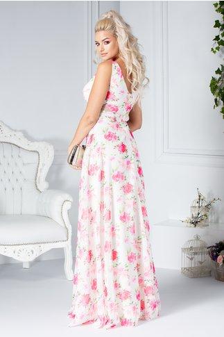 Rochie Fofy Romina lunga ivory cu imprimeu floral