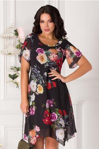 Rochie Romina neagra cu imprimeu floral colorat