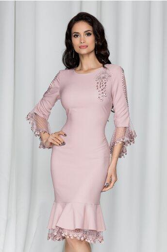Rochie Romina roz prafuit tip sirena cu maneci trei sferturi tip clopot