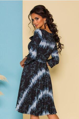 Rochie Rona gri cu imprimeuri si fusta plisata