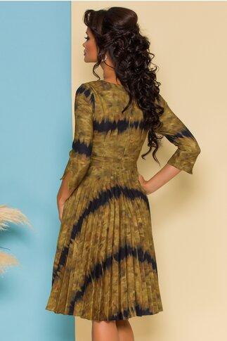 Rochie Rona kaki cu imprimeuri si fusta plisata