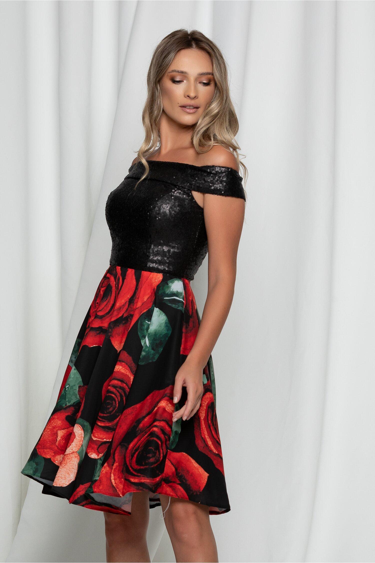 Rochie Rona neagra cu bust din paiete si flori rosii pe fusta