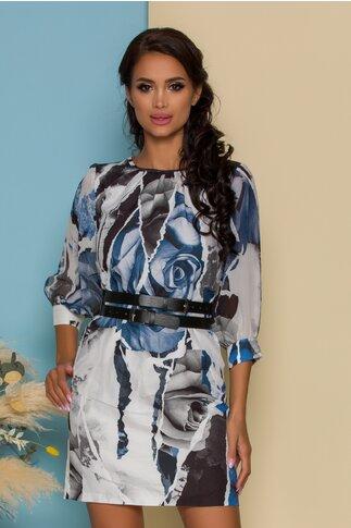 Rochie Rose alba cu imprimeuri albastre