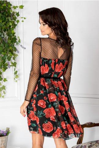 Rochie Rose neagra cu trandafiri rosii