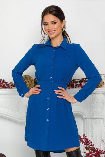 Rochie Rose tip camasa albastra cu nasturi si curea