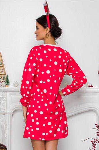 Rochie rosie Merry cu imprimeu reni