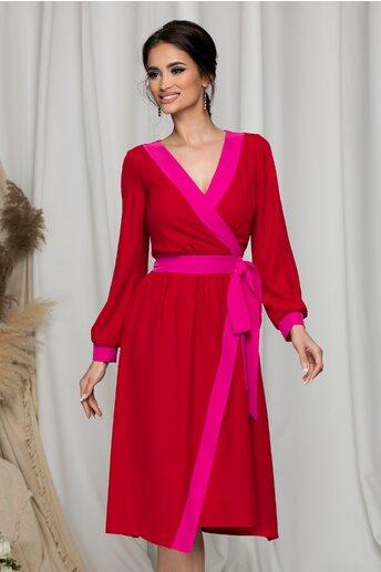Rochie rosie Moze cu aplicatii roz si fundita in lateral
