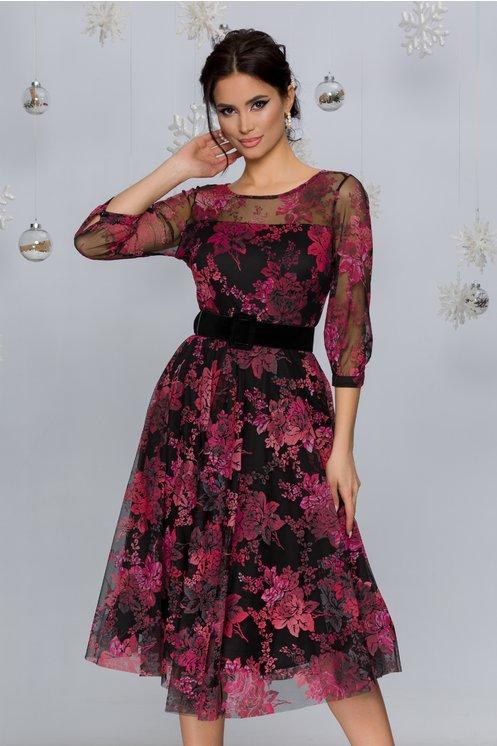 Rochie Rosy neagra cu imprimeu floral catifelat in nuante de roz