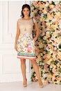 Rochie Roxana bej cu imprimeu floral in relief