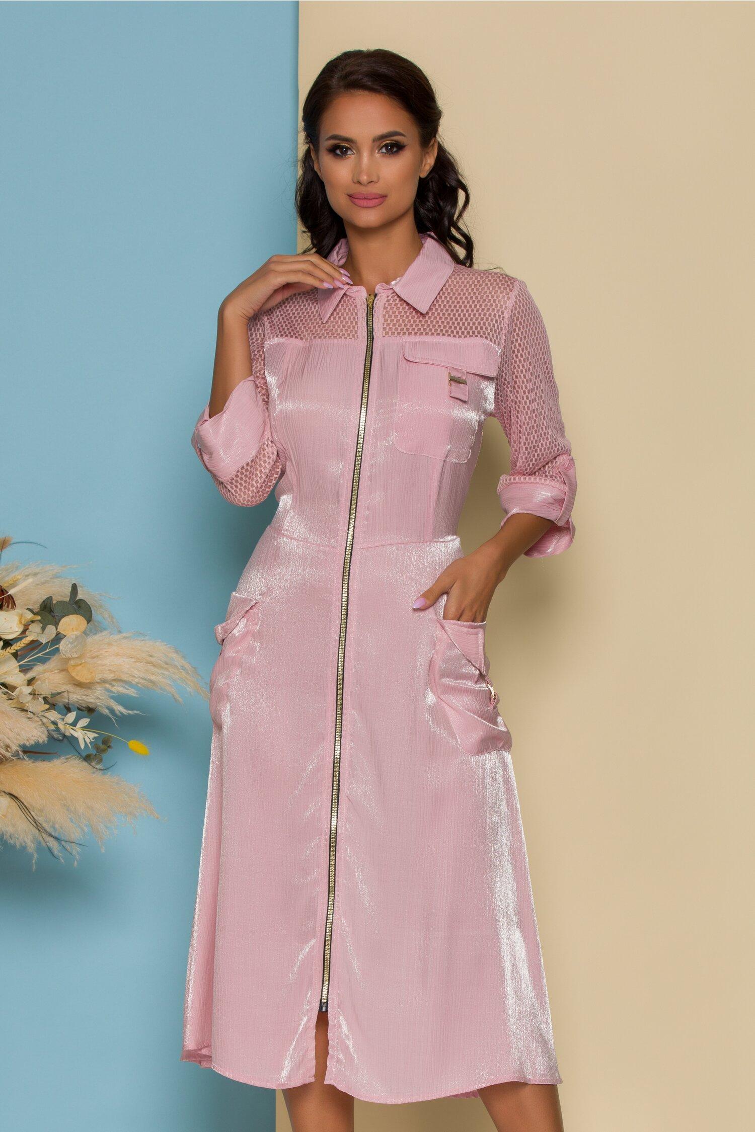 Rochie Roxana roz cu fermoar si buzunare