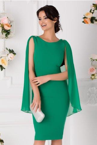 Rochie Roxana verde cu capa si accesorii la umeri