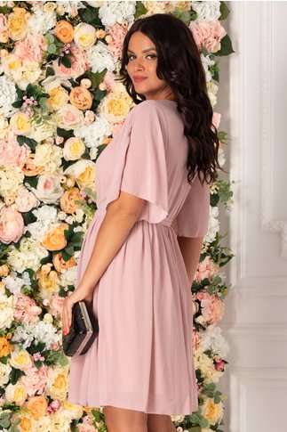 Rochie Roxi din voal roz prafuit cu manecile decupate