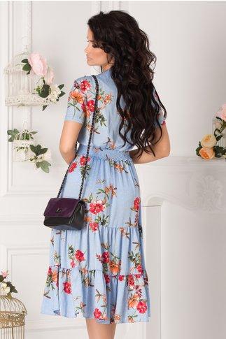 Rochie Roxy bleu cu buline si imprimeu floral