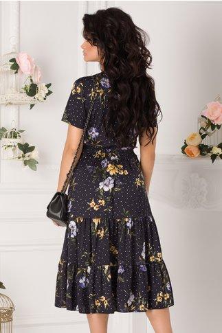 Rochie Roxy bleumarin cu buline si imprimeu floral