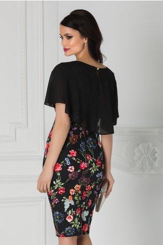 Rochie Roxy neagra cu imprimeu floral rosu