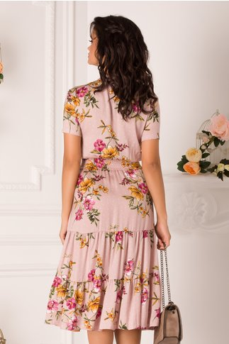 Rochie Roxy nude-rose cu buline si imprimeu floral