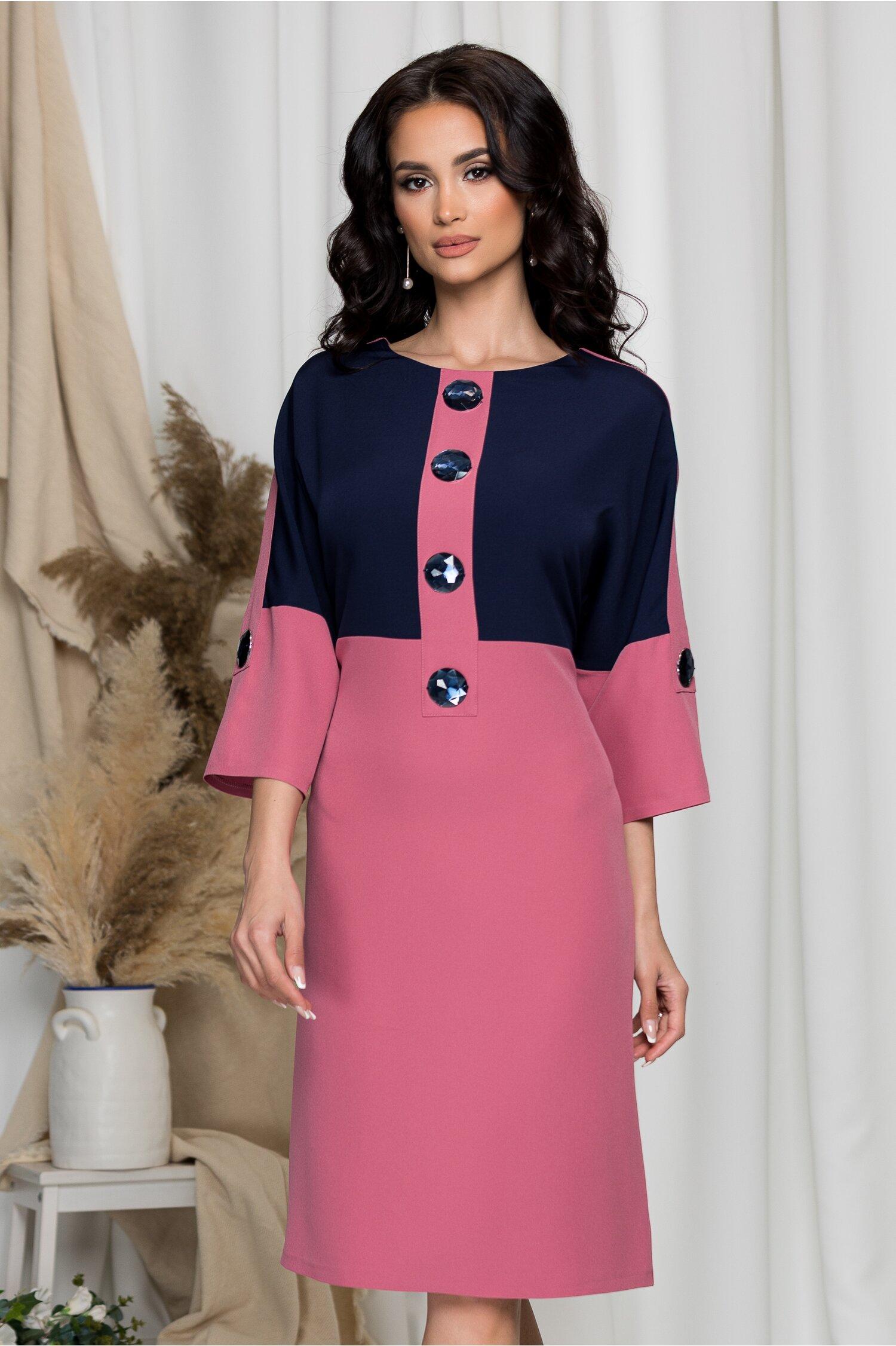 Rochie Nadia roz cu bleumarin si nasturi maxi stralucitori imagine dyfashion.ro 2021