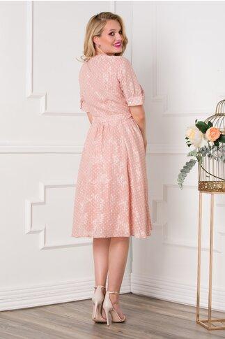 Rochie roz cu buline si nasturi pe fata