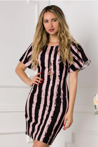Rochie roz cu dungi negre