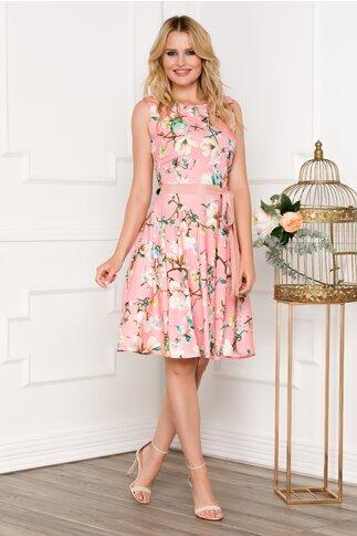 Rochie roz cu imprimeu floral verde si cordon in talie