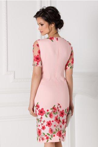 Rochie roz cu manecile decupate si imprimeu floral