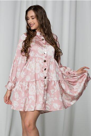 Rochie roz cu trandafiri ivory si nasturi maxi