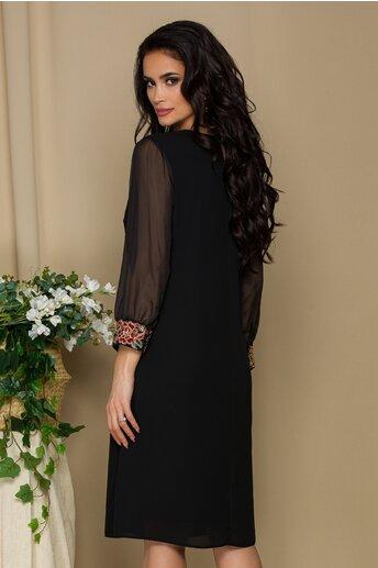 Rochie Rozza neagra cu broderie eleganta la baza manecilor