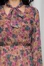 Rochie Ruxandra mov cu imprimeu floral si elastic in talie