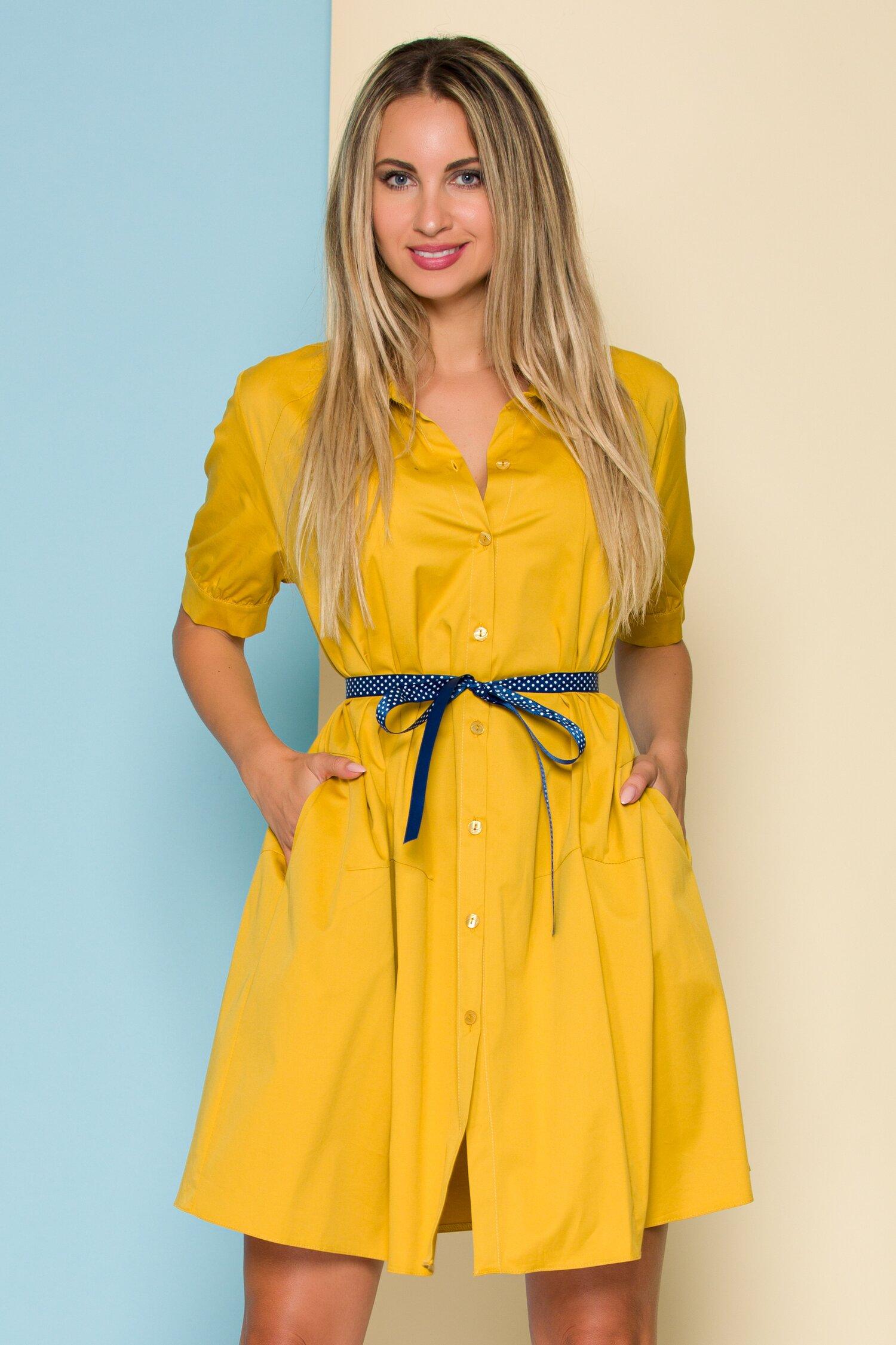 Rochie Ruxy galben mustar tip camasa cu cordon in talie