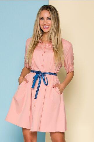 Rochie Ruxy roz tip camasa cu cordon in talie