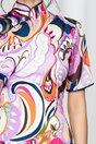 Rochie Ryota tip kimono cu guler inalt si maneci scurte