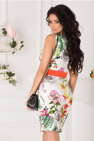 Rochie Sabrina alba cu imprimeuri florale si banda portocaliu neon in talie