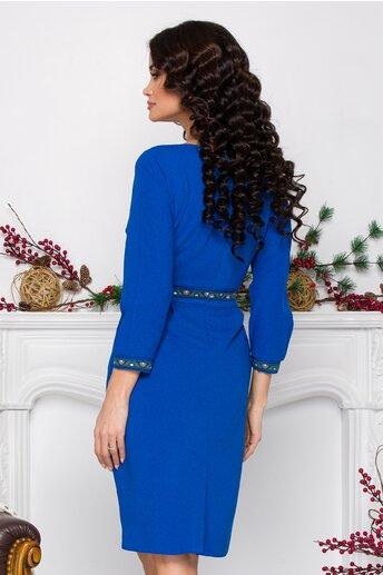 Rochie Sabrina albastra cu pliuri in talie si benzi decorative