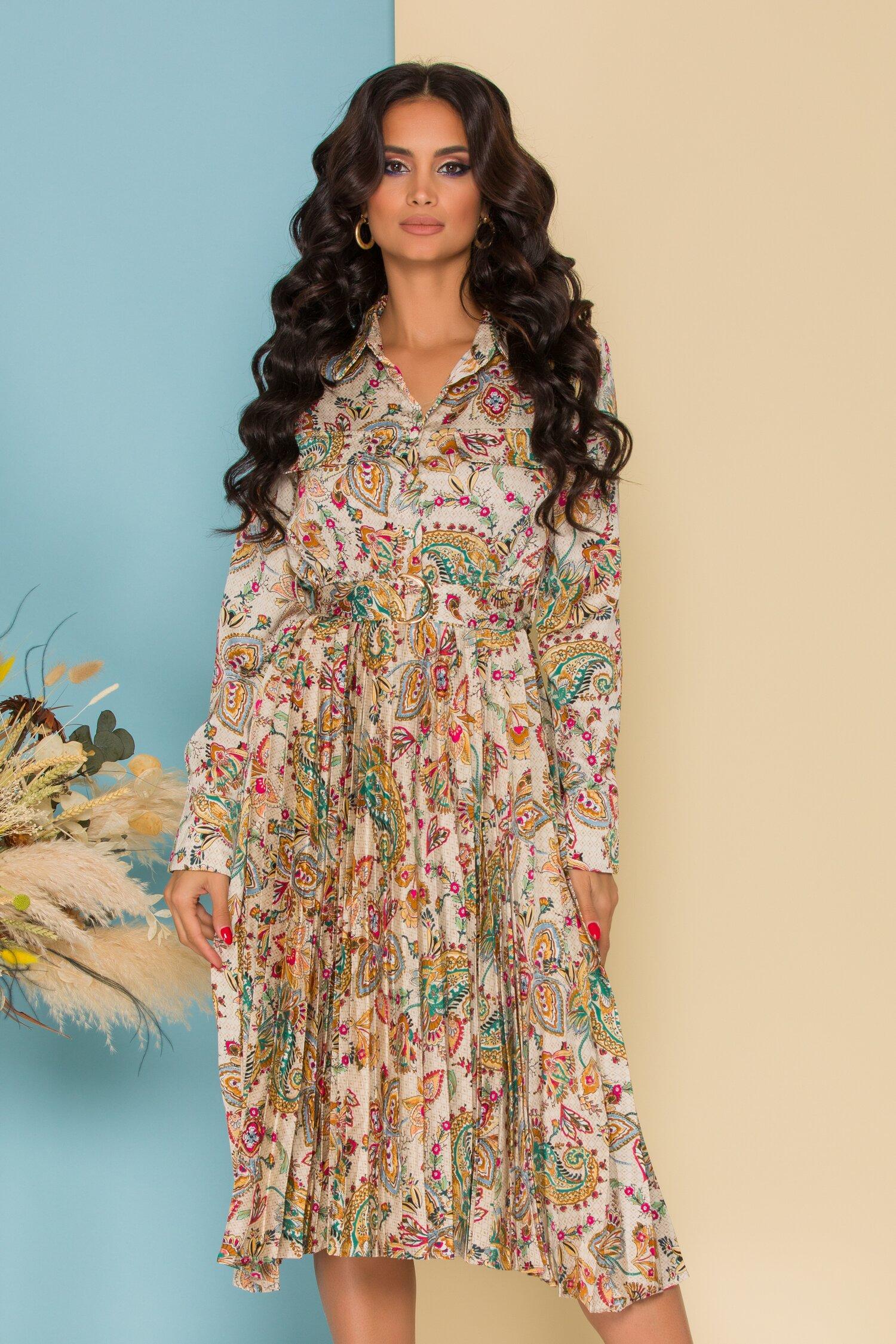 Rochie Sabrina bej cu imprimeuri florale colorate