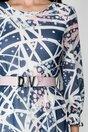 Rochie Sabrina bleumarin cu imprimeuri albe si roz
