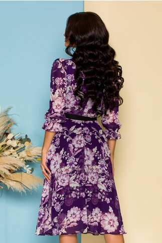 Rochie Sabrina din voal mov cu imprimeuri florale