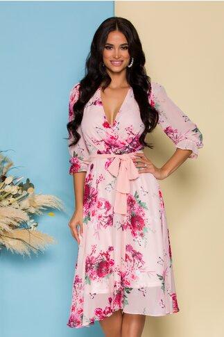 Rochie Sabrina din voal roz cu imprimeuri florale