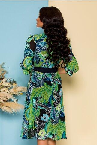 Rochie Sabrina din voal verde cu imprimeuri florale