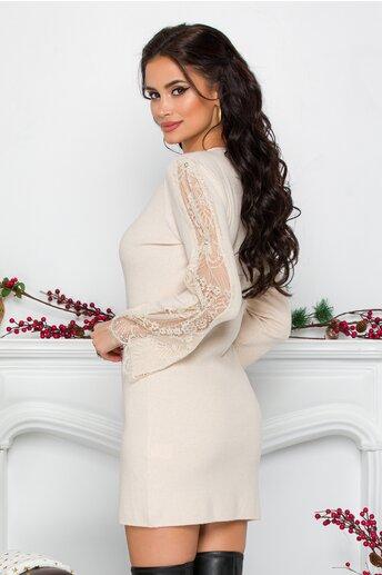Rochie Sabrina ivoire din tricot cu dantela si strasuri la maneci