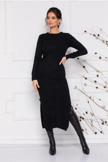 Rochie Sabrina midi neagra din tricot cu design impletit