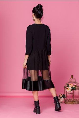 Rochie Sabrina neagra cu fusta din tull