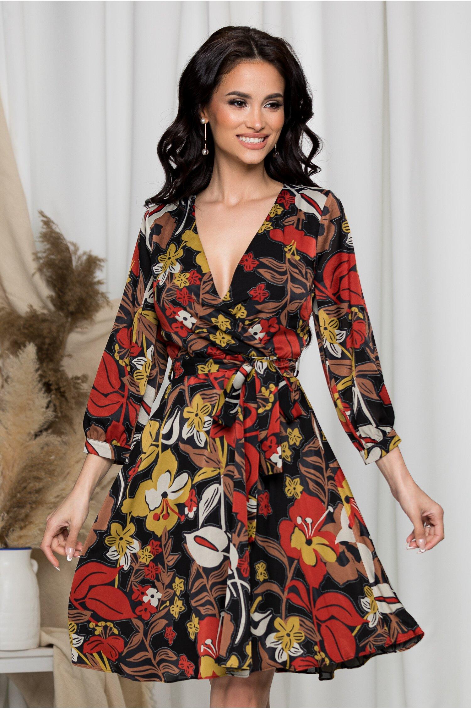 Rochie Sabrina neagra cu imprimeuri florale