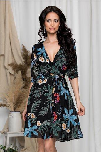 Rochie Sabrina neagra cu imprimeuri florale albastre