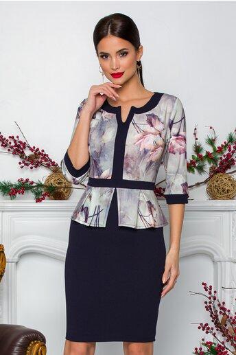 Rochie Sabrina neagra cu imprimeuri florale in nuante de lila si bleu