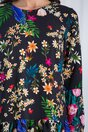 Rochie Sabrina neagra cu imprimeuri florale si volan la baza
