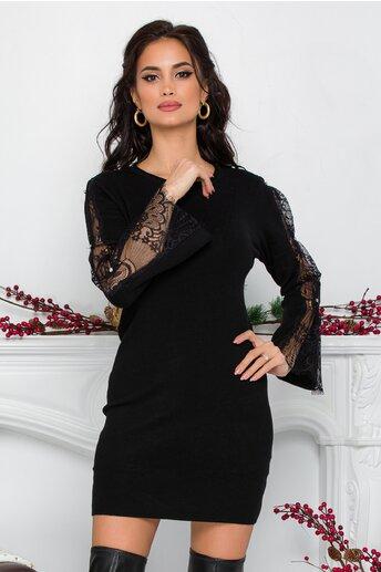 Rochie Sabrina neagra din tricot cu dantela si strasuri la maneci