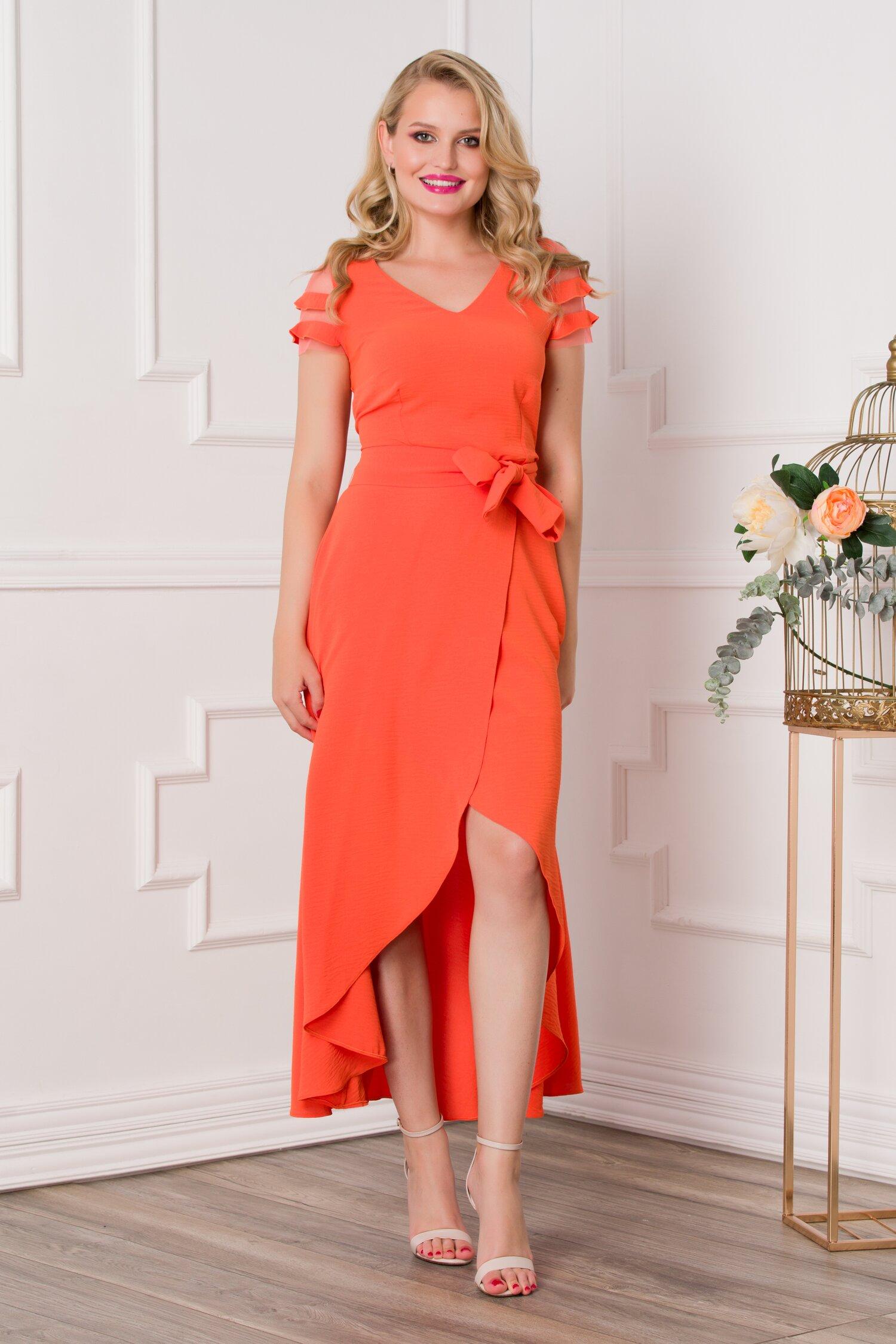 Rochie Sabrina orange cu lungime asimetrica