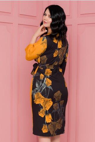 Rochie Sabrina petrecuta negru si galben cu imprimeuri florale