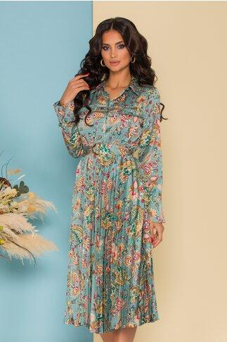 Rochie Sabrina turcoaz cu imprimeuri florale colorate