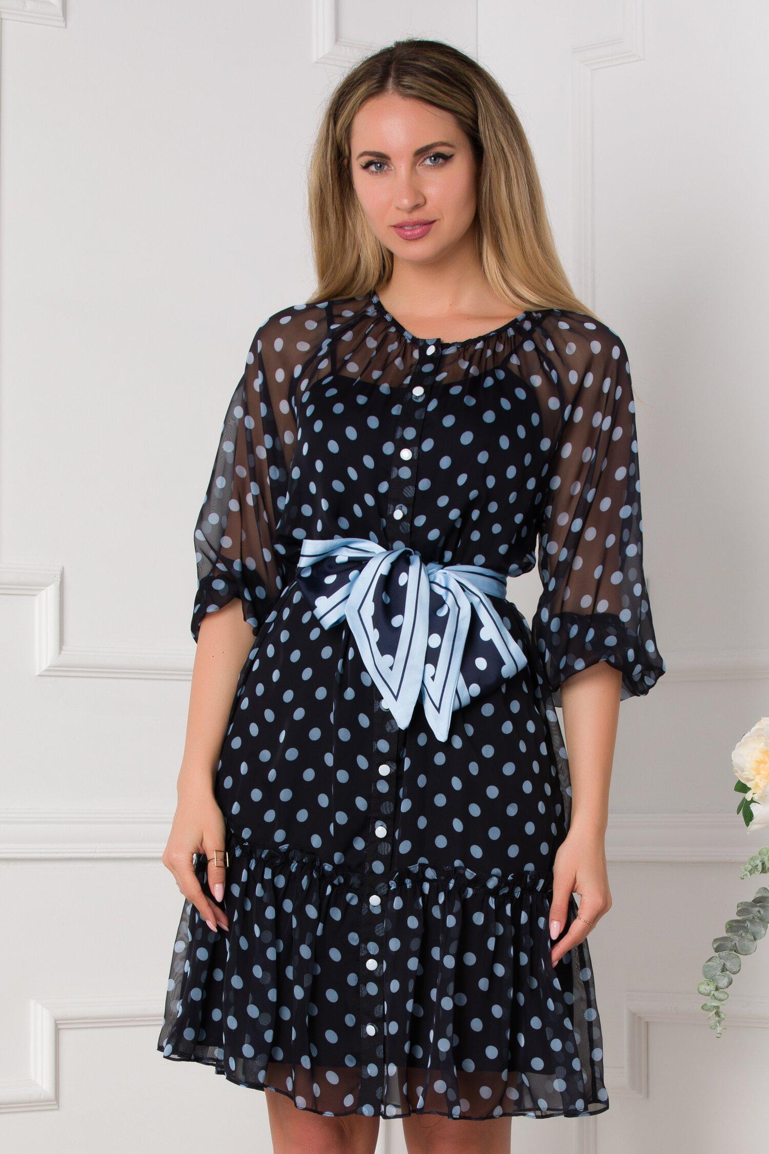 rochie sabrina vaporoasa bleumarin cu buline bleu 531972 4